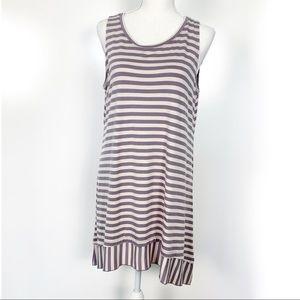 LOGO | Purple Cream Stripe Sleeveless Tunic Medium